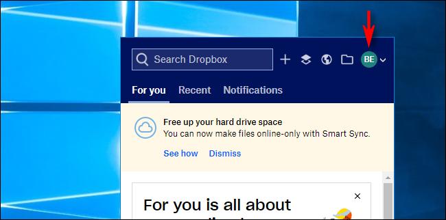 انقر على Avatar في Dropbox على Windows 10
