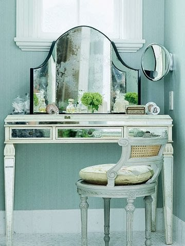 small sized corner vanity table with mirror stool bench design