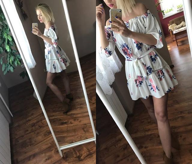 Dzisiaj o mnie-czyli seria z telefonu/Zaful white and red dress Summer 2017