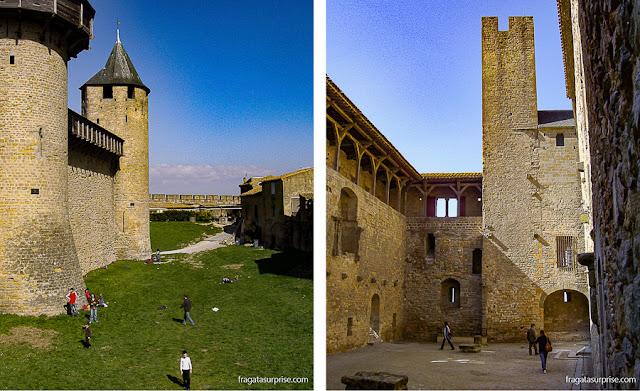 """O fosso da cidadela medieval de Carcassonne (esq) e o Cour du Midi (""""Pátio Sul"""") do castelo"""