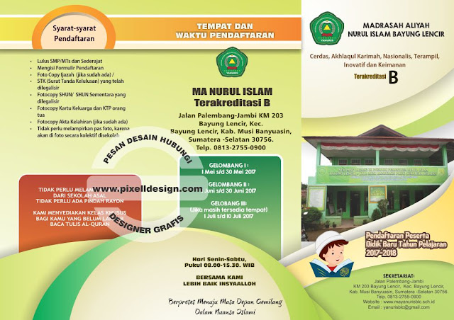 Iklan Brosur Pendidikan Pendaftaran Sekolah Madrasah