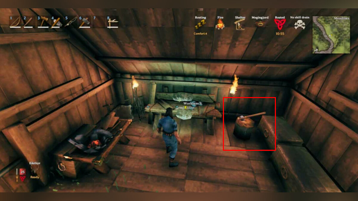 How to upgrade a workbench in Valheim to level 2