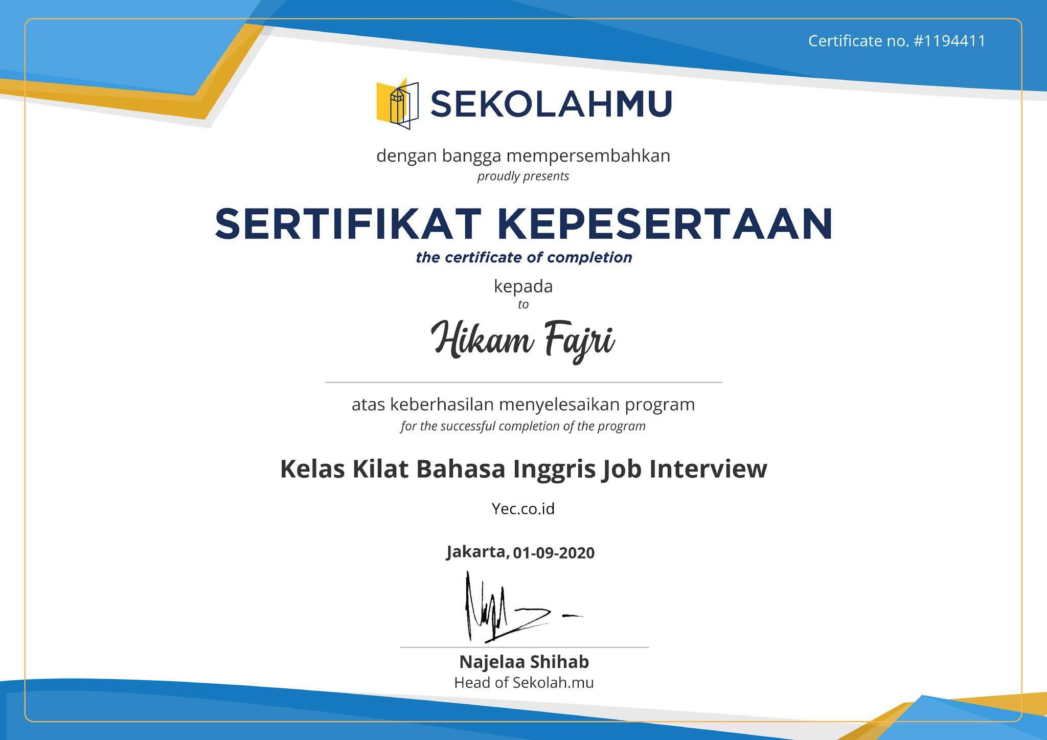 Kelas Kilat Bahasa Inggris Job Interview
