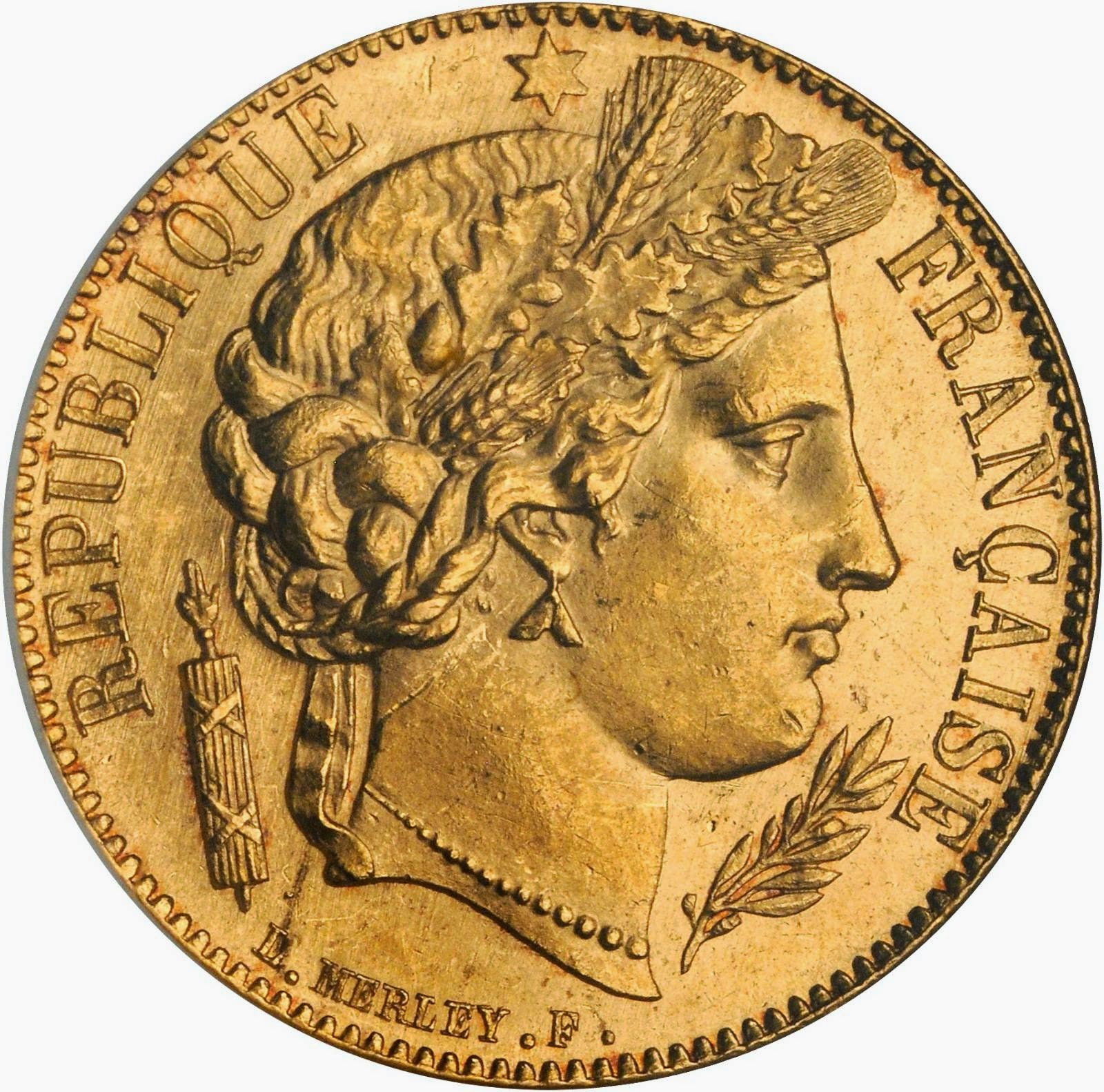 French Gold 20 Francs Coin 1850 Ceres