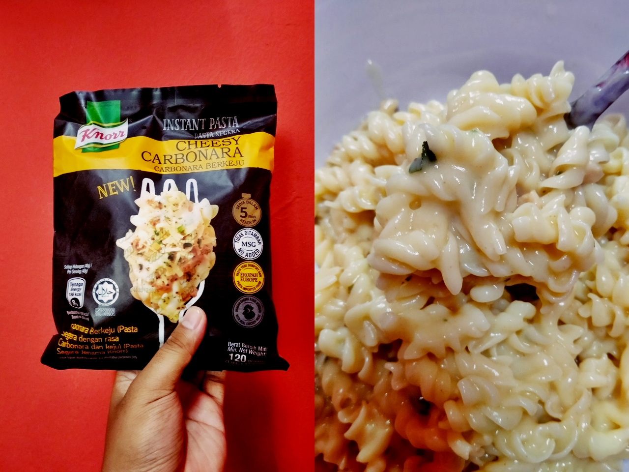 Review Instant Pasta Knorr Cheesy Carbonara