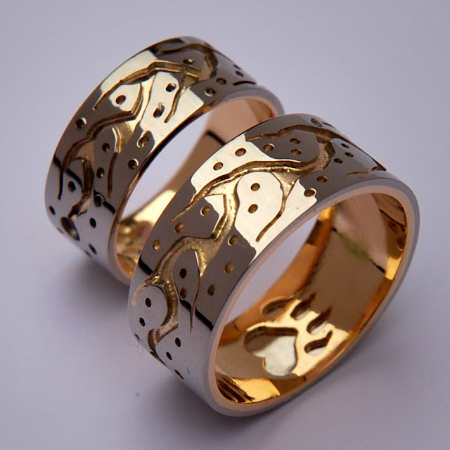 Wiidosendiwag Ojibwe style wedding bands by Zhaawano