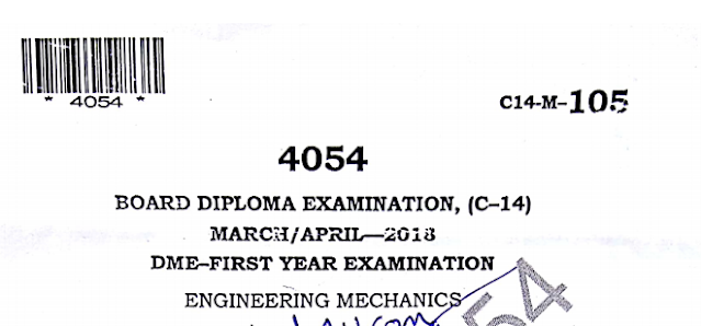 Polytechnic engineering mechanics previous question papers march/april 2018 c14