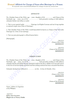 affidavit for change of name after marriage by a woman applicant