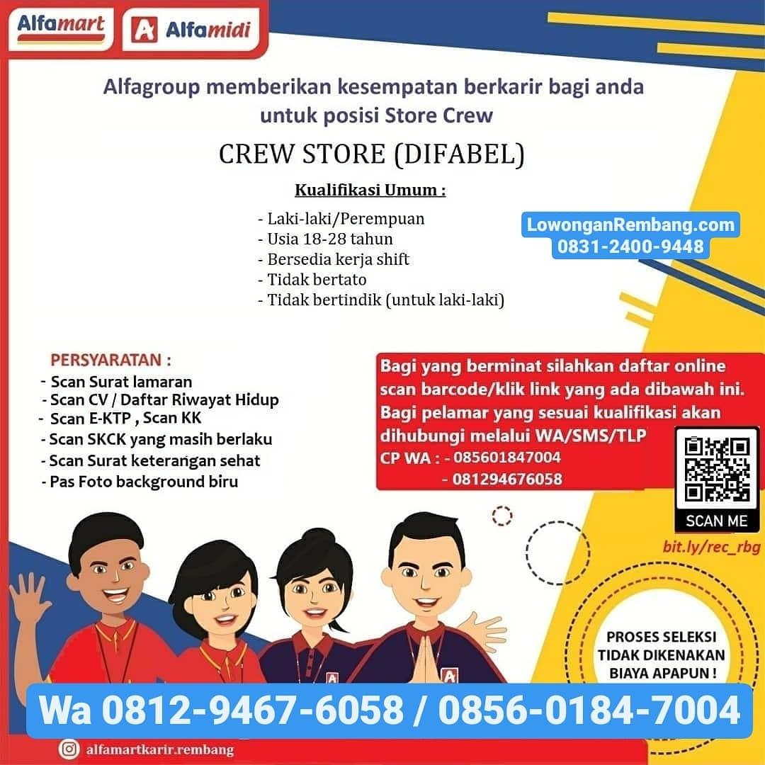 Lowongan Kerja Crew Store (Difabel) Minimarket Alfamart Rembang Tanpa Syarat Pendidikan