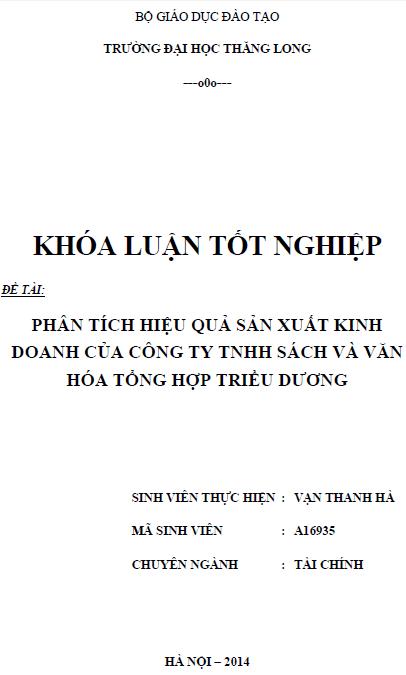Phân tích hiệu quả sản xuất kinh doanh của Công ty TNHH sách và văn hóa tổng hợp Triều Dương