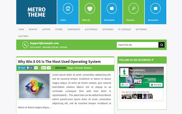 Metro UI Free Blogger Template