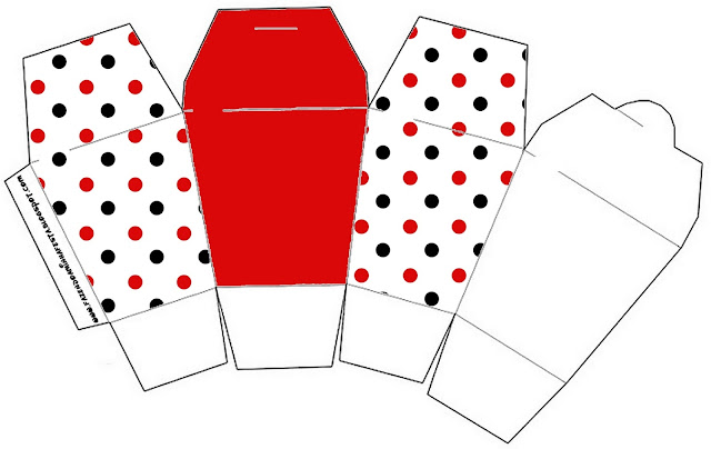 Red Polka Dots in Black and White Free Printable Chinese Take Away Box.