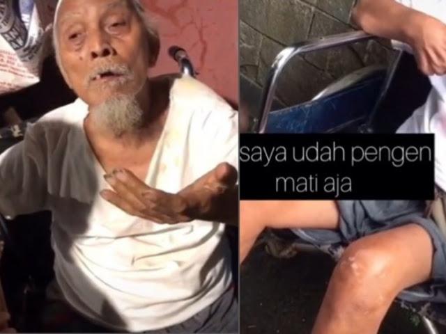 Pilu Kakek Lumpuh Ini Dipaksa Ngemis, Dipukul Istri dan Dimaki Anak Jika Tidak Bawa Uang