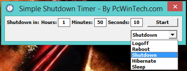 Simple Shutdown Timer - By PcWinTech.com