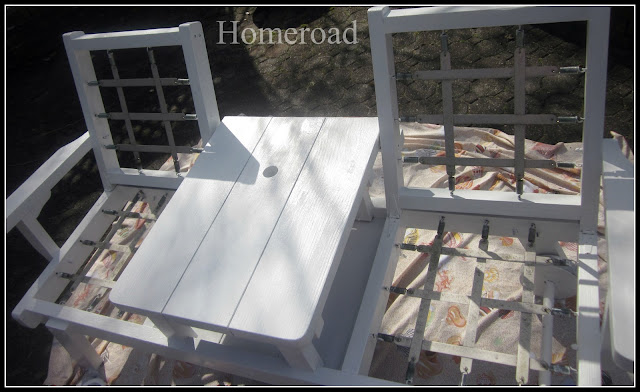 redwood bench with center table white painted