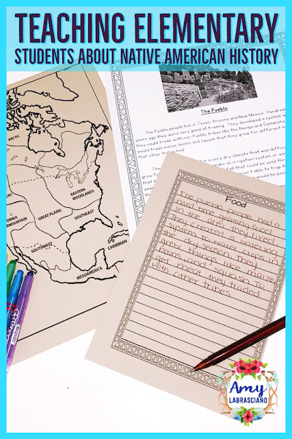 Click here to learn about teaching elementary students about Native American History.  You'll learn how to combine your Native American social studies unit together with reading and writing in order to fit everything into your year. Common core standards are included in the post to help you align your curriculum.  Perfect for 2nd grade and 3rd grade writing curriculum!