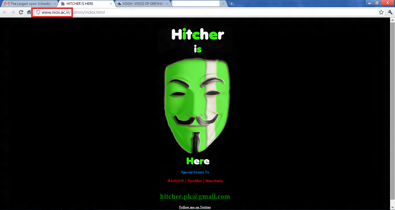 Official Website of NIOS-National Institute of Open Schooling Hacked