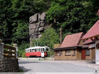 to samo miejsce 100 lat później. Widoczny pamiątkowy tramwaj ustawiony tu 26 X 1997 r. przez Jeleniogórskie Towarzystwo Tramwajowo-Trolejbusowe