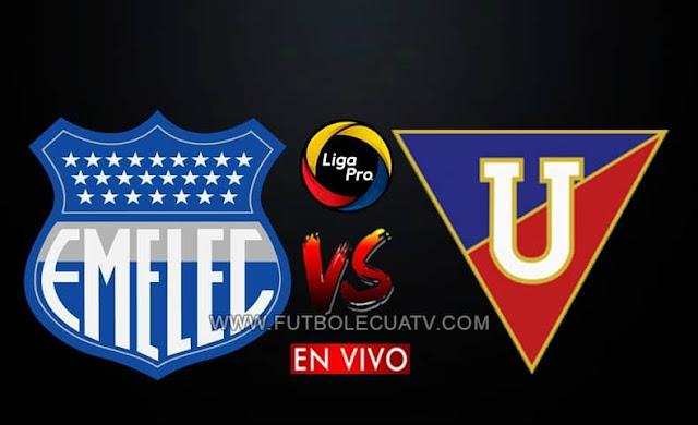 Emelec choca ante Liga de Quito en vivo y en directo a partir de las 18h00 hora local, por la fecha trece de la Liga Pro, siendo emitido por GolTV Ecuador a jugarse en el Estadio Banco Del Pacífico Capwell. Teniendo como árbitro principal a Jaime Sánchez.