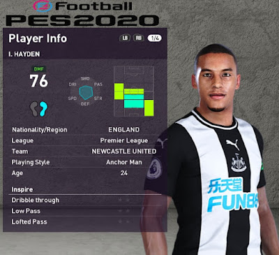 PES 2020 Faces Isaac Hayden by Rachmad ABs