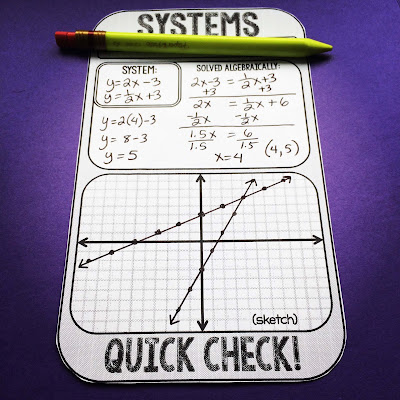 systems of equations quick check sheet