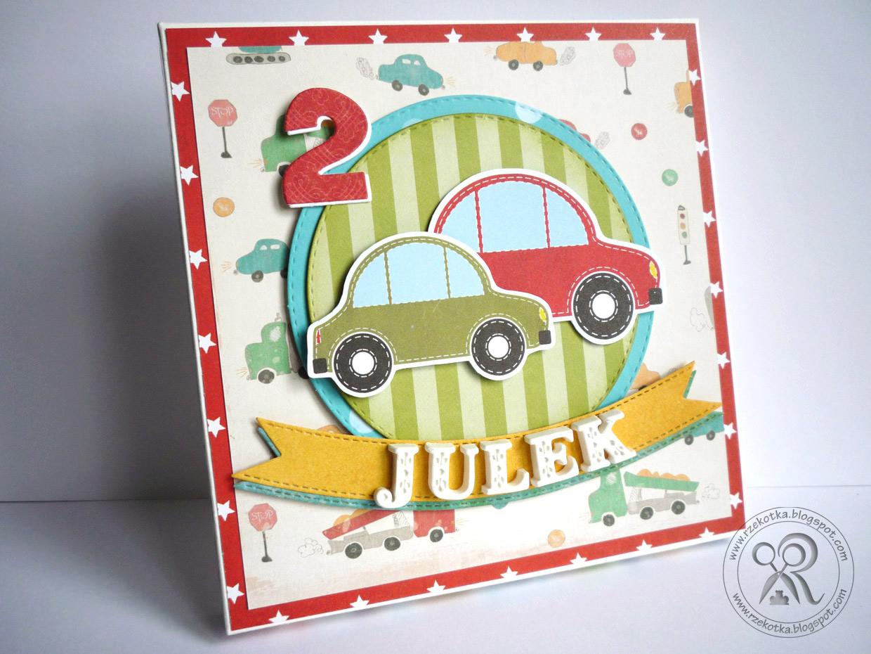 Kartka urodzinowa z autami