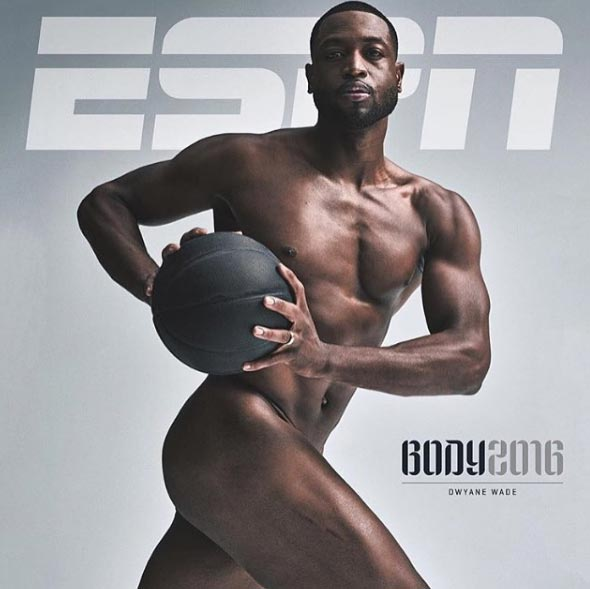 Dwyane Wade of Miami Heat covers frontpage of  ESPN Magazine in nude shot
