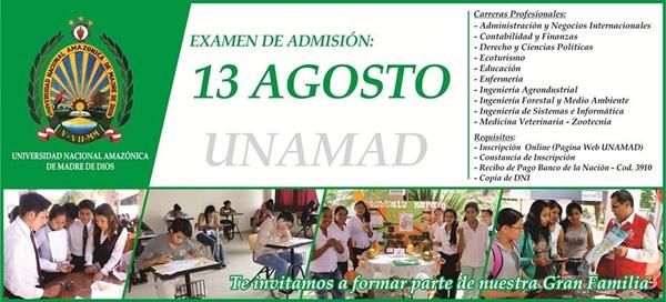 Examen de Admisión UNAMAD 2017