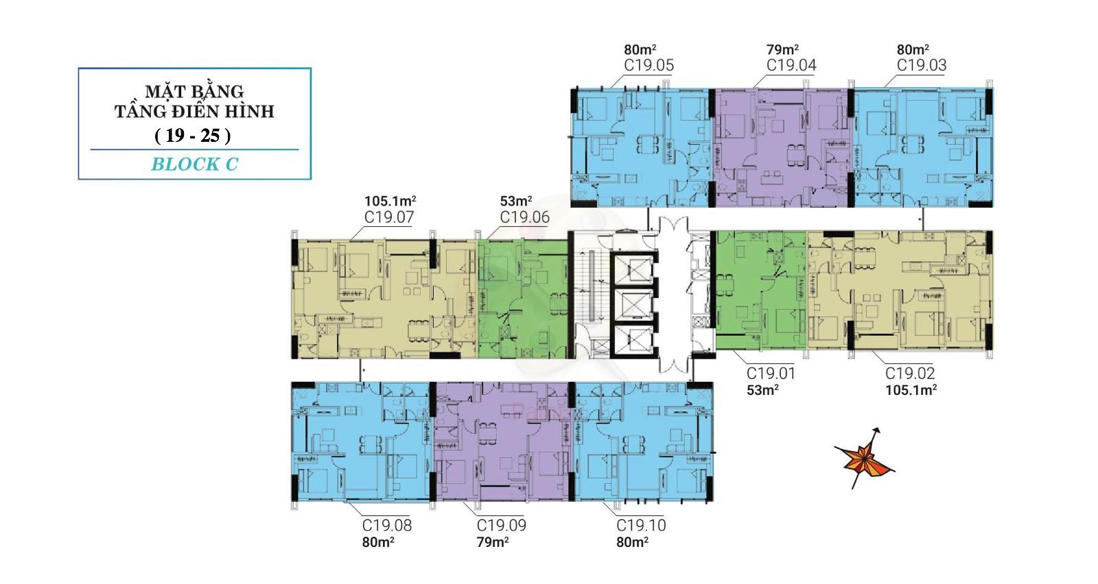 mat-bang-block c tầng 19 - tầng 25