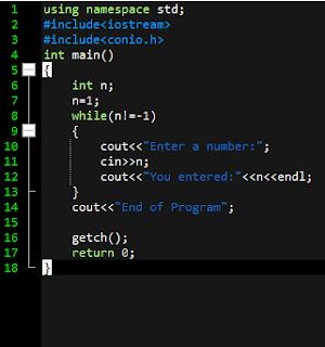 Program that terminate when -1