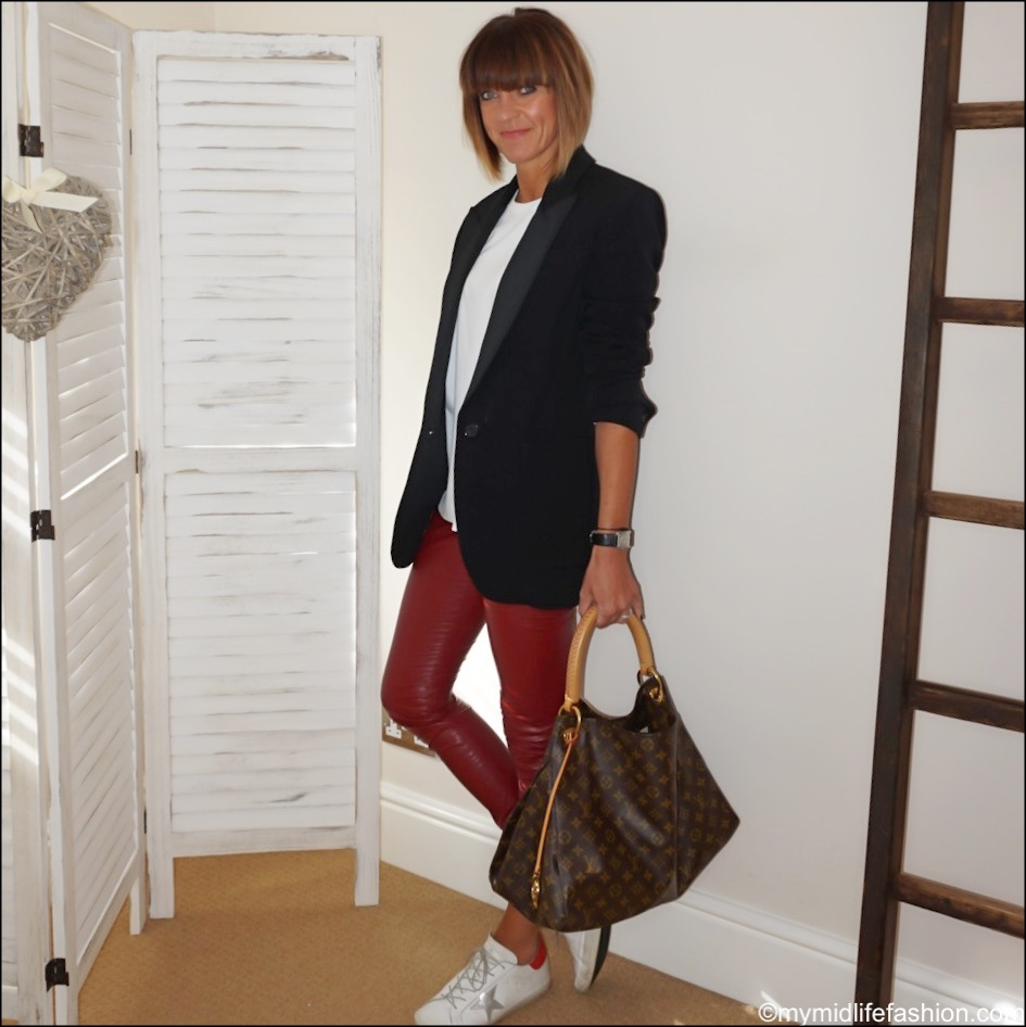 my midlife fashion, Isabel Marant oversized blazer, Joseph perfect logo embroidered cotton jersey t shirt, Isabel Marant Etoile faux leather leggings, Louis Vuitton bag, golden goose superstar low top leather trainers