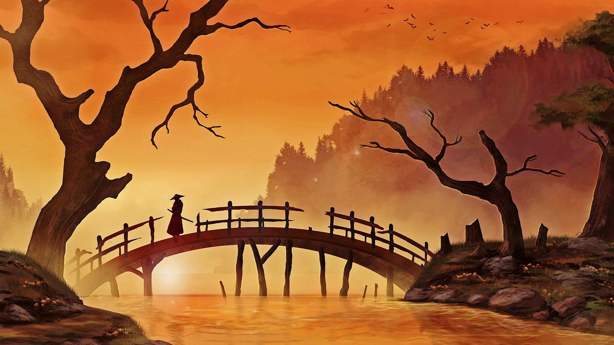 Samurai On Bridge Wallpaper