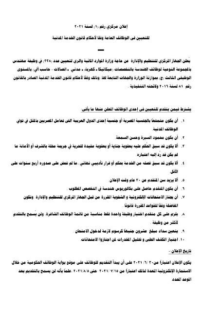 وزارة الرى تعلن عن وظائف خالية