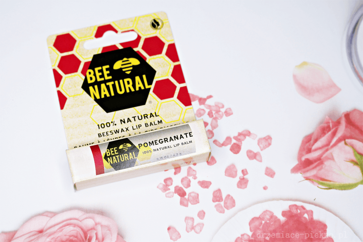 Bee Natural, 100% Natural Beeswax Lip Balm Naturalna pomadka do ust Pomegranate