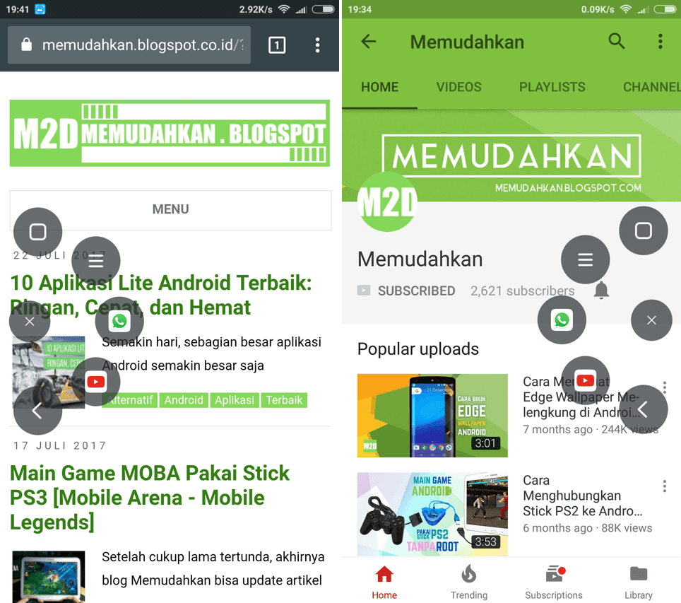 Pintasan ke WhatsApp dan YouTube