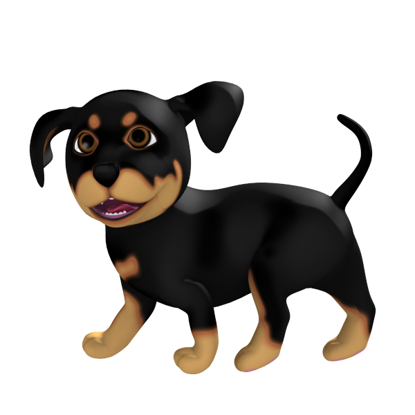 Happy Cartoon Rottweiler Puppy walking