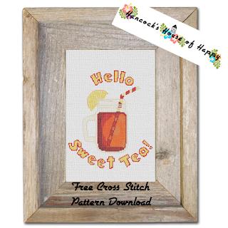 mason jar sweet tea cross stitch pattern