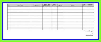 Aplikasi Buku Induk Khusus PAUD TK Dan RA Format Excel
