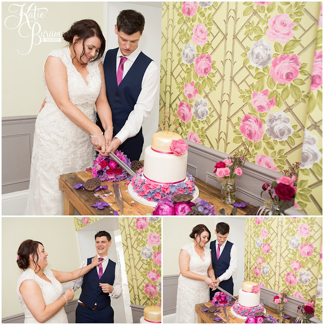 cake cutting, woodhill hall, northumberland wedding venue, woodhill hall wedding photographs, woodland wedding, otterburn wedding, katie byram photography,