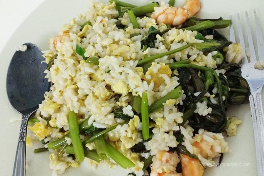 resepi nasi goreng kangkung, nasi goreng udang, udang masak masam manis, nasi goreng kampung,