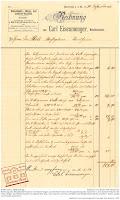 Rechnung des Weißbindermeisters Carl Eisenmenger aus Bensheim von 1906 über Arbeiten im Innenbereich des Anwesens Darmstädter Straße 50 in Bensheim.