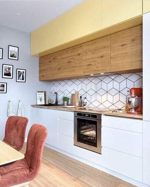 cozinha moderna com papel de parede 3d geométrico