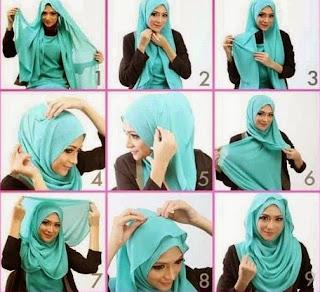 Cara memakai jilbab pashmina wajah bulat dua layer