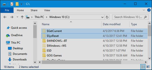 ما هي مجلدات GetCurrent $ و SysReset $ فى ويندوز 10 ، ولماذا يمكنك حذفها ؟