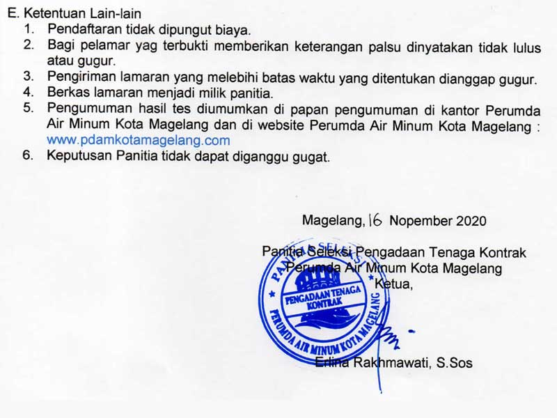 Lowongan Kerja Perusahaan Umum Daerah Air Minum Kota Magelang November 2020