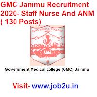 GMC Jammu Recruitment 2020, Staff Nurse And ANM