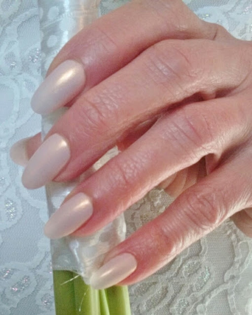 pink gold bride nails