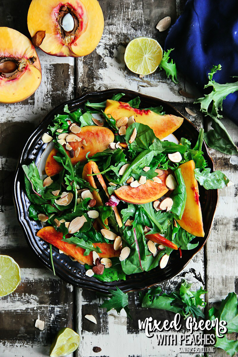 Mixed Greens with Peaches — Salad #Recipe