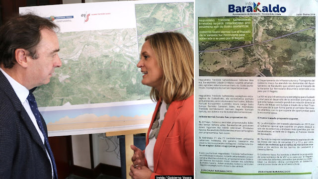 La alcaldesa en la presentación del plan del Gobierno Vasco y la propaganda municipal al respecto