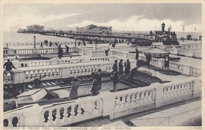 Aquarium & Palace Pier showing Miniature Golf Links, Brighton. Postally used 15 April 1945
